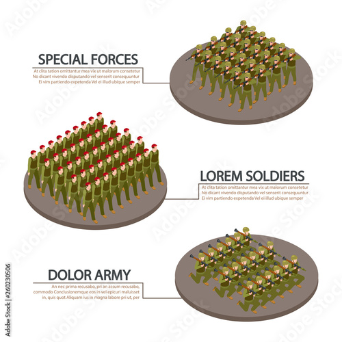 Photo Army, military, soldiers isometric info banners vector design