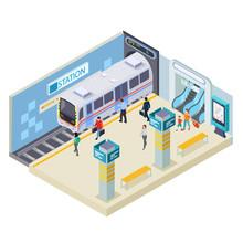 Subway Station Isometric Vecto...