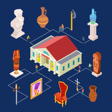 Vector Museum Art Exhibition Isometric Elements Concept. Exhibit With Sculpture And Ancient Artifact, Visitor Looking To Composition Illustration