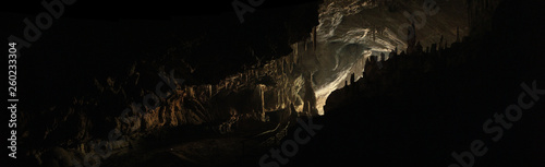 wide angle panoramic view showing the opening of a cave, Thum Lod cave, Bang Ma Pha, in Northern Thailand Fototapete