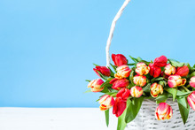 Basket With Tulip, Bouquet Of Flowers, Mothers Day Gift