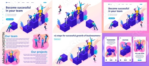 Isometric Bright Successful Young Team Wallpaper Mural