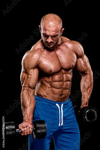 Fotografie, Obraz  Bodybuilder Lifting Weights