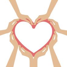 Human Hands Form A Heart Vector Illustration EPS10