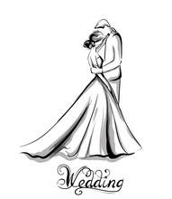 Wedding Couple Silhouette Vector Line Art. Beautiful Bride And Groom. Template For Design Cards