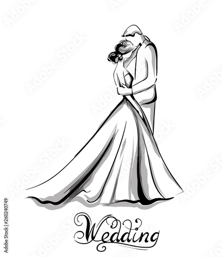 Fototapeta Wedding couple silhouette Vector line art. Beautiful bride and groom. Template for design cards obraz