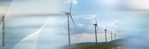 Wind turbines in a rural landscape. panoramic banner Poster Mural XXL