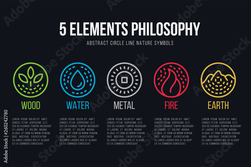 Obraz five element philosophy circle line boder  and Dashed line icon set vector design - fototapety do salonu