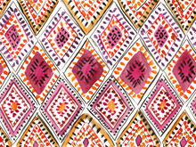 Traditional Moroccan Rug With Rhombic Ornament. Seamless Watercolor Pattern