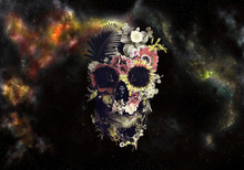 Artistic Drawn Illustration Of A Skull In Roses On An Abstract Colorful Cloudy Background