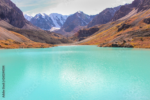 Poster Vert corail Blue lake in the Altai mountains on autumn