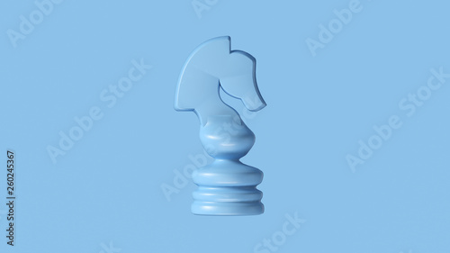 Photo  Pale Blue Chess Knight Piece 3d illustration 3d rendering