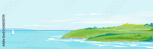 Foto auf AluDibond Licht blau Panorama of the seaside from the coastal hills overgrown with vegetation, hills and meadows near the sea coast, summer countryside with green hills, rural landscape background