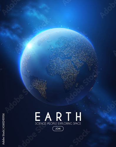 Photo  Eath Planet in Space with Lights