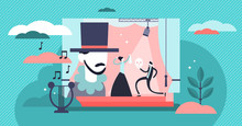 Theater Vector Illustration. Flat Tiny Stage Performance Persons Concept.