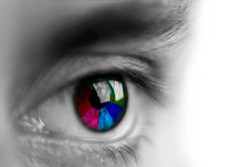human eye close-up with a multi-colored iris,  isolate