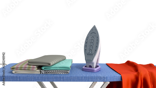 Fotografie, Obraz  modern iron on the ironing board near the ironed things in the stack 3d render o