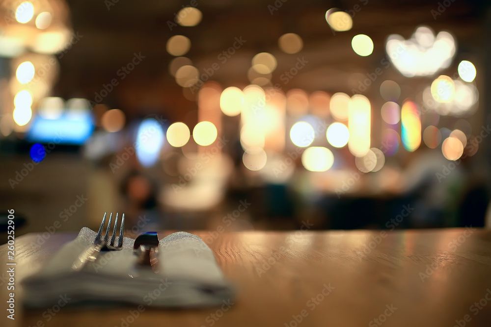 Fototapety, obrazy: blurred background in restaurant interior / serving and details in blurred bokeh background, concept catering, restaurant modern
