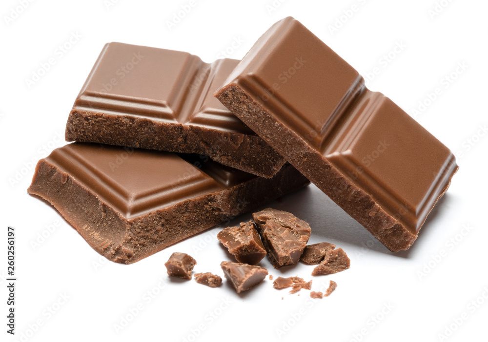 Fototapety, obrazy: Milk organic chocolate pieces isolated on white background