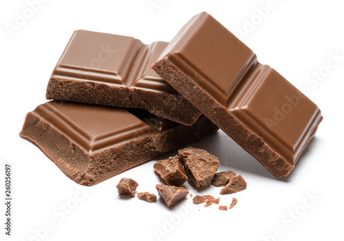Milk organic chocolate pieces isolated on white background Fototapet
