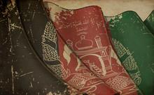 Old Paper Print - Waving Flag Of Afghanistan