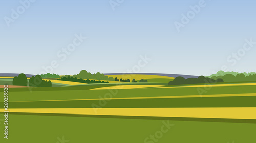 Tuinposter Blauwe hemel Green landscape with yellow fields. Lovely rural nature. Unlimited space. Vector illustration.