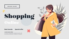 Online Shopping Landing Page Or Banner Template. Girl With Shopping, Packages. Flat Happy Female Character With Shopping Bags. Vector Illustration