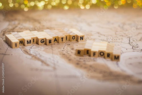 Valokuvatapetti Immigration Reform concept on US-Mexico border map - selective focus on Immigrat