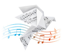 Origami Pigeon With Musical Notes. Stylized Illustration Of Paper Dove On Wave With Musical Notes. Vector Available.