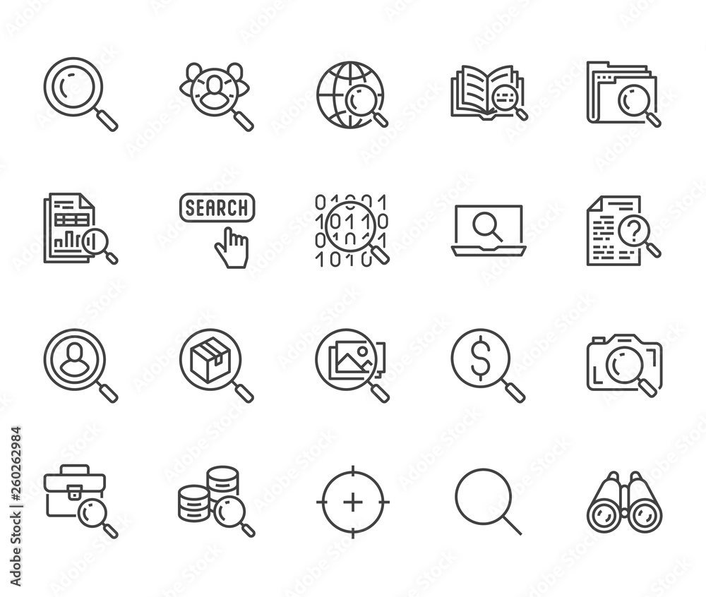 Fototapeta Data search flat line icons set. Magnify glass, find people, image zoom, database exploration, analysis vector illustrations. Thin signs for web engine. Pixel perfect 64x64. Editable Strokes