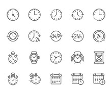 Time Flat Line Icons Set. Alar...