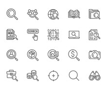 Data Search Flat Line Icons Se...