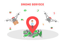 Droner Delivery Service Concept. Fast Transportation To Client