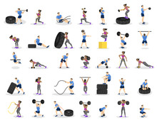Set Of People Doing Workout. Fitness And Bodybuilding Exercise