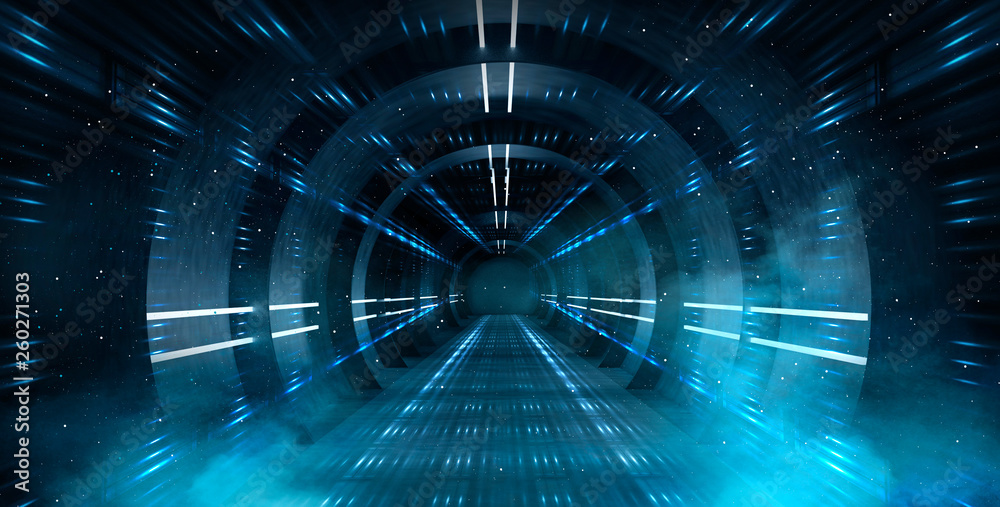 Fototapety, obrazy: Abstract tunnel, corridor with rays of light and new highlights. Abstract blue background, neon. Scene with rays and lines, Round arch, light in motion, night view.