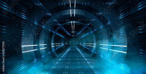 Fototapeta Abstract tunnel, corridor with rays of light and new highlights. Abstract blue background, neon. Scene with rays and lines, Round arch, light in motion, night view. obraz