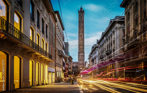 Canvas Print Two famous falling Bologna towers Asinelli and Garisenda