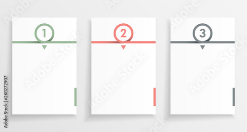 Three step paper or note infograph with numbered pages in minimal design. - fototapety na wymiar