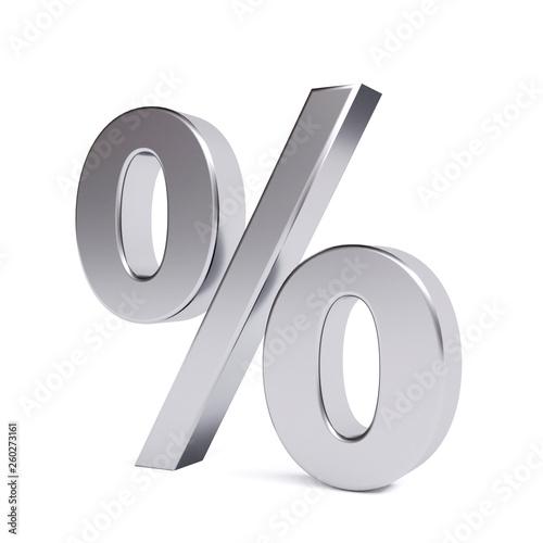 Fotografía  Metal percent symbol. 3d image