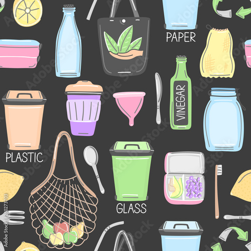Vector seamless pattern with hand drawn zero waste objects