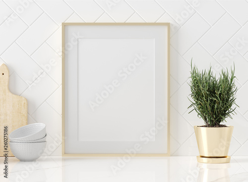Obraz Mock up poster frame close-up in kitchen  interior, American style, 3d render - fototapety do salonu
