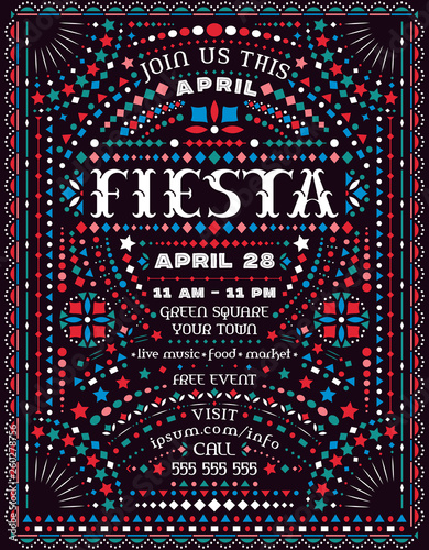 Fotografering  Fiesta celebration announce poster template with Mexican national decorative ornaments