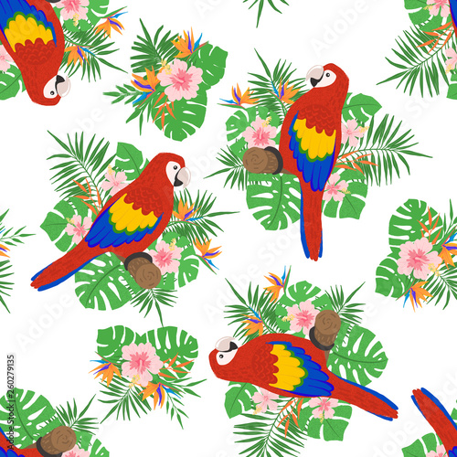 Foto op Plexiglas Papegaai Seamless pattern with tropical leaves, flowers and parrots.