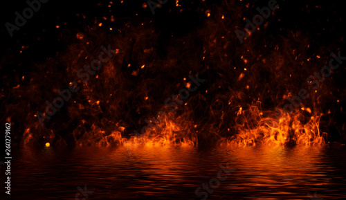 Blaze fire flame texture on isolated background with water reflection Wallpaper Mural