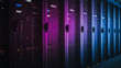 canvas print picture Shot of Dark Data Center With Multiple Rows of Fully Operational Server Racks. Modern Telecommunications, Cloud Computing, Artificial Intelligence, Database, Supercomputer. Pink Neon Light.