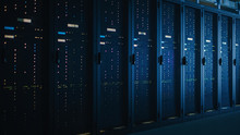 Shot Of Dark Data Center With ...