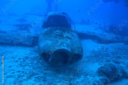 Poster Naufrage airplane scuba wreck / diving site airplane, underwater landscape air crash in the sea