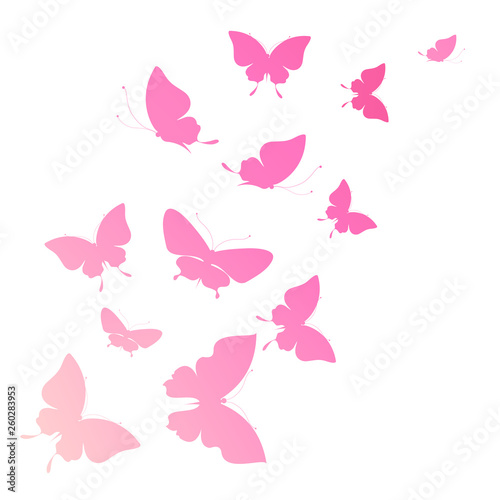 Printed kitchen splashbacks Butterflies in Grunge beautiful pink butterflies, isolated on a white
