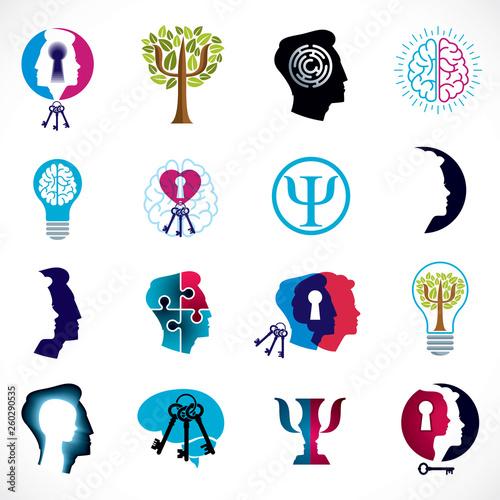 Carta da parati Psychology, brain and mental health vector conceptual icons or logos set