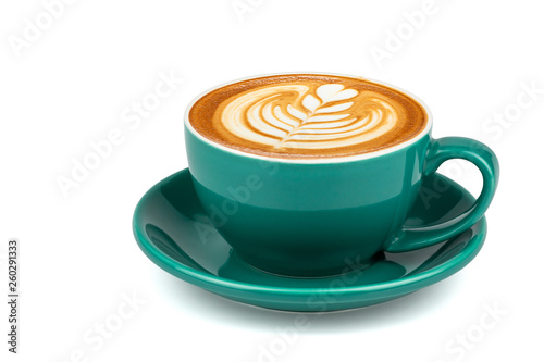 Cuadros en Lienzo Side view of hot latte coffee with latte art in a dark green cup and saucer isolated on white background with clipping path inside